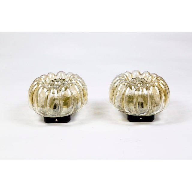 Mid-Century Oval Amber Glass Bubble Tynell Style Flush Mounts - a Pair For Sale - Image 4 of 10