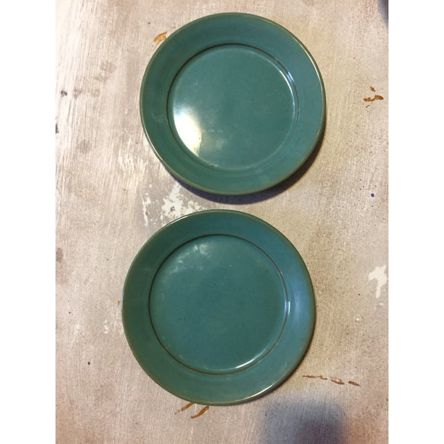 Blue Glazed Pottery Plates - A Pair - Image 4 of 4