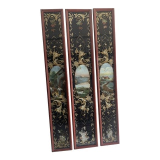 Antique French Eglomise Painted Glass Panels For Sale