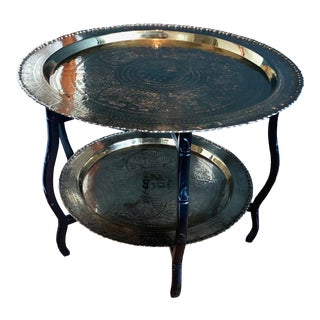 Vintage Chinese Brass Round Two Tiered Tray Table For Sale