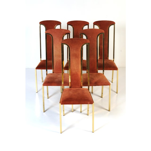 1970s Italian Suede and Brass Chairs-Set of 6 For Sale - Image 10 of 10