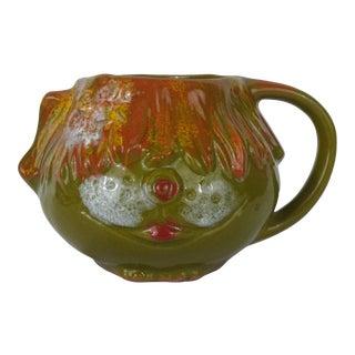Mid Century Pacific Glazed Stoneware Green Orange Figural Dog Mug For Sale