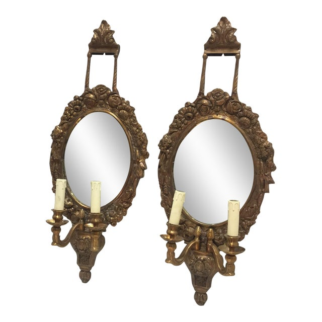 French Brass & Mirrored Sconces - A Pair - Image 1 of 4