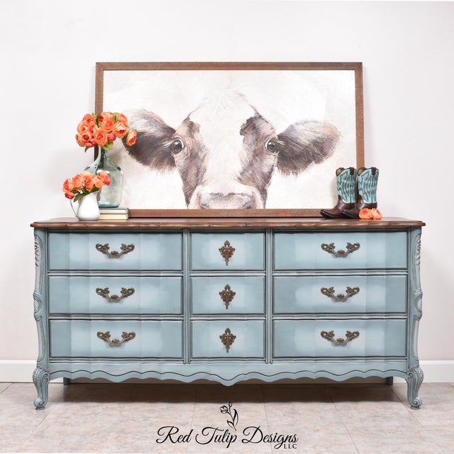 Now this is a statement piece! This gorgeous French Provincial dresser has been beautifully blended in shades of gray and...