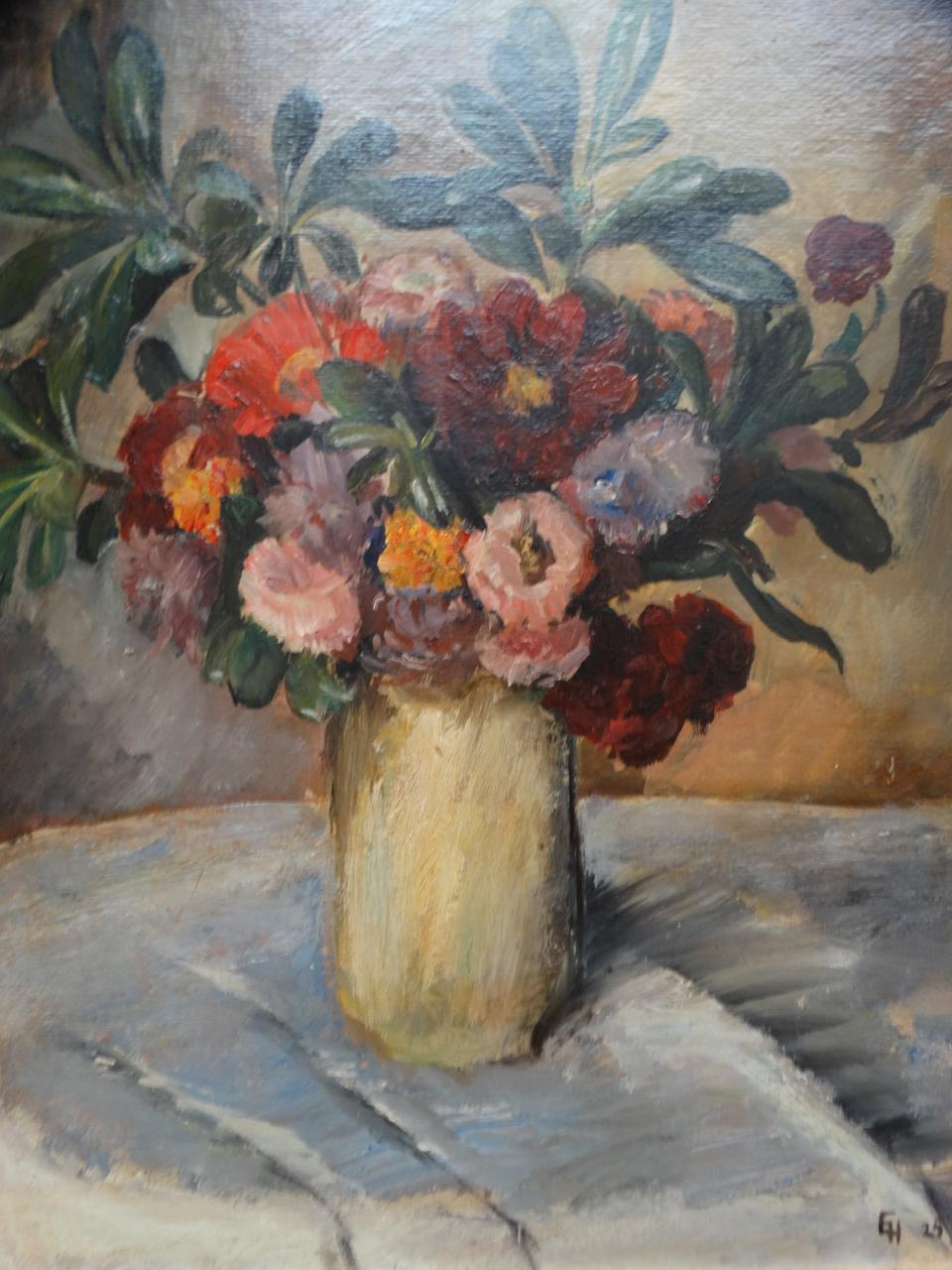 225 & 1920s Vintage Ejnar Hansen Still Life Flowers in a Yellow Vase Painting