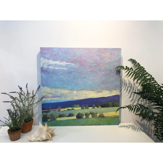 "Blue ""Summer Song"" Oil Pastel Painting by Ken Elliott For Sale - Image 8 of 9"