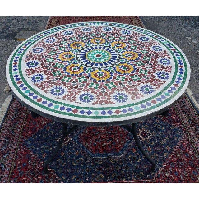 Moroccan Multi-Color Mosaic Coffee Table For Sale In Orlando - Image 6 of 7