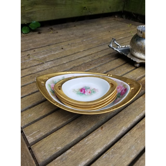 """Victorian Victorian """"Rs"""" China Nut Bowl With Five Little Serving Dishes - 6 Pieces For Sale - Image 3 of 11"""