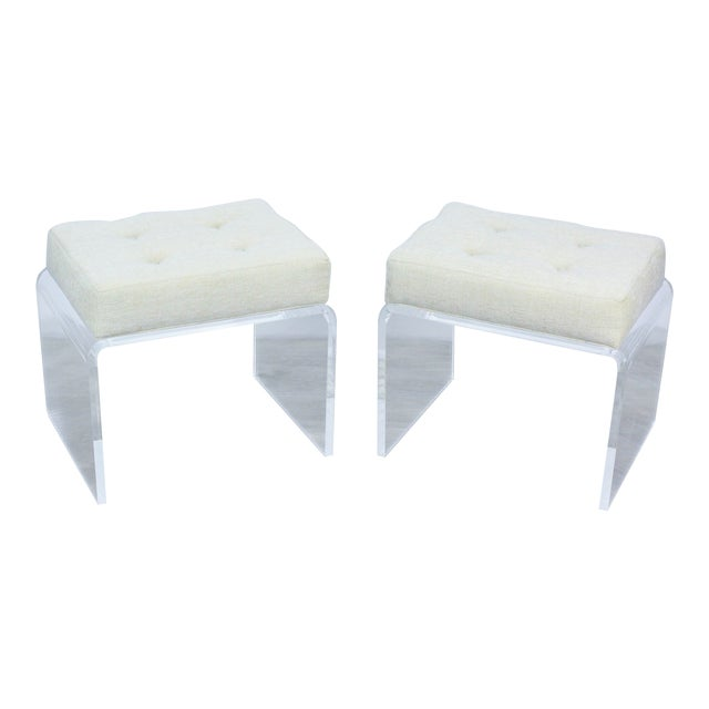 Pair of Cream Waterfall Lucite & Chenille Benches For Sale