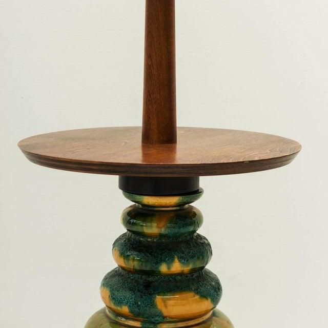 Ceramic 1960s California Studio Ceramic Drip-Glaze Floor Lamp With Teak Table For Sale - Image 7 of 10