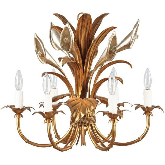 1950s French Gilded Metal Chandelier For Sale - Image 13 of 13
