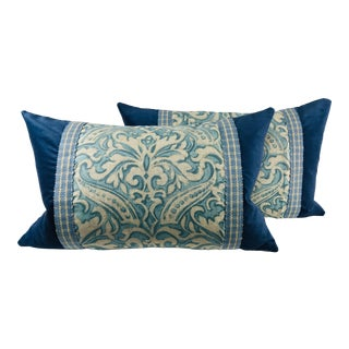 Traditional Vervain Hand Printed Linen Pillows – a Pair For Sale