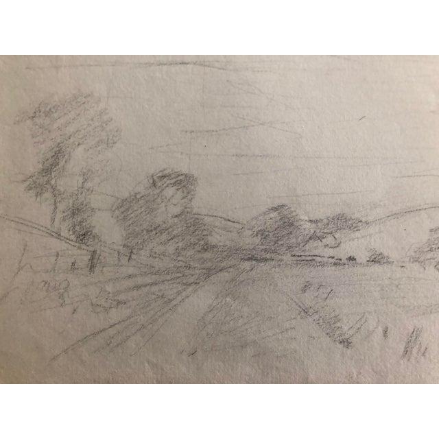 American 1930s Vintage Eliot Clark American Impressionist Landscape Drawing For Sale - Image 3 of 6