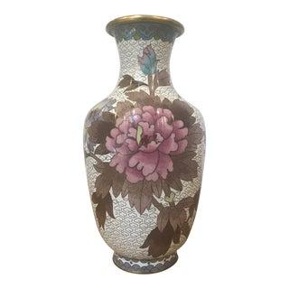 Vintage Floral Motif Cloisonne Vase For Sale
