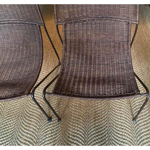 Wicker Scoop Form Rattan Lounge Chairs in the Manner of Frederick Weinberg - a Pair For Sale - Image 7 of 10