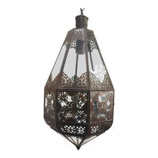 Moroccan Light Fixture in Moorish Design Clear Glass and Metal Filigree For Sale
