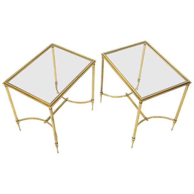 Pair of Solid Brass Glass Tops Stretcher Janson Style End Occasional Tables For Sale