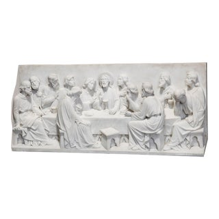 Early 20th Century Italian Carved High Relief Sculpture Plaque of the Last Supper For Sale