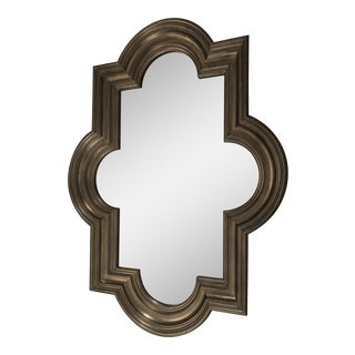 Quatrefoil Design Silver Leaf Mirror For Sale