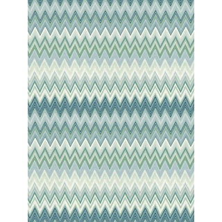 Sample, Scalamandre Zig Zags, Peacock Wallpaper For Sale