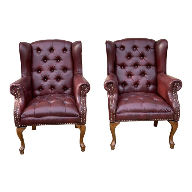 1990s Vintage Faux Leather Burgundy Chairs- A Pair For Sale