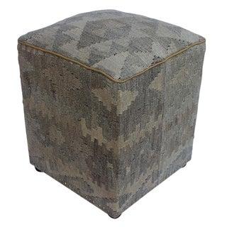 Arshs Doreen Tan/Gray Kilim Upholstered Handmade Ottoman For Sale