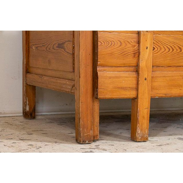 Mid 19th Century Mid 19th Century Antique Pine Bench With Storage, Sweden For Sale - Image 5 of 7