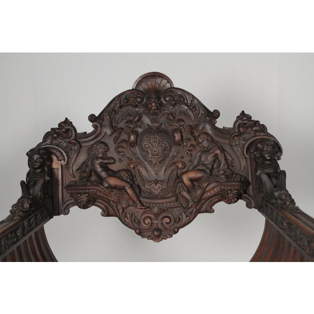 Late 19th Century 1890 Gothic Revival Heavily Carved Campaign Chair For Sale - Image 5 of 13