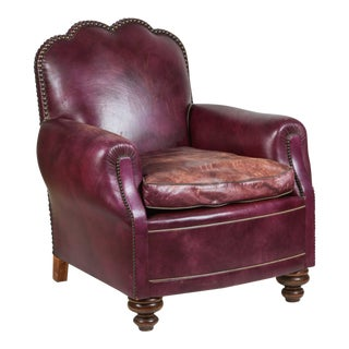 Early 20th Century Vintage French Leather Club Lounge Chair For Sale