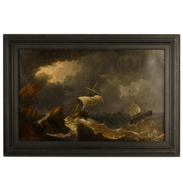 """""""Eye of the Storm"""" Contemporary Nautical Oil Painting, Framed For Sale - Image 13 of 13"""