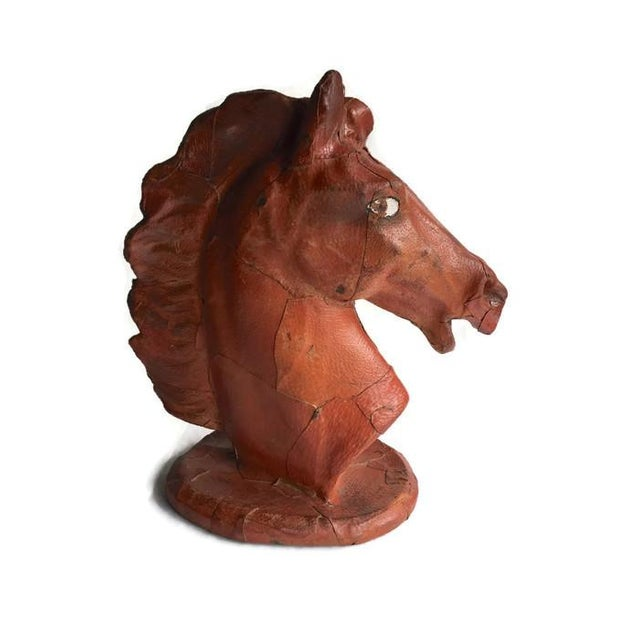 Vintage Leather Horse Head Statue - Image 5 of 6