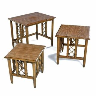 Midcentury Bamboo Rattan Laminate Top Nesting Table, Set of 3 Preview