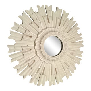 Ethan Allen White Sunburst Mirror For Sale