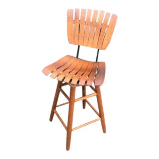 Arthur Umanoff Wood Slat Swivel Counter Stool For Sale
