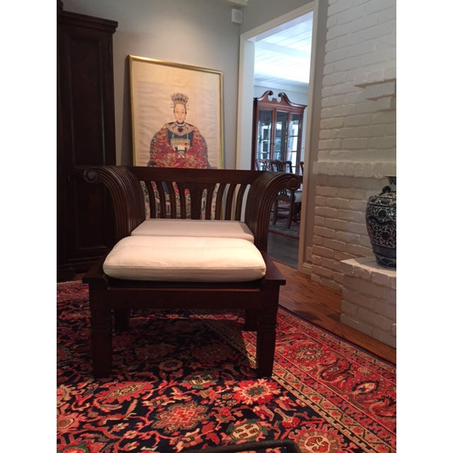 Hand-Carved Mahogany Wood Chair & Ottoman - A Pair - Image 9 of 10