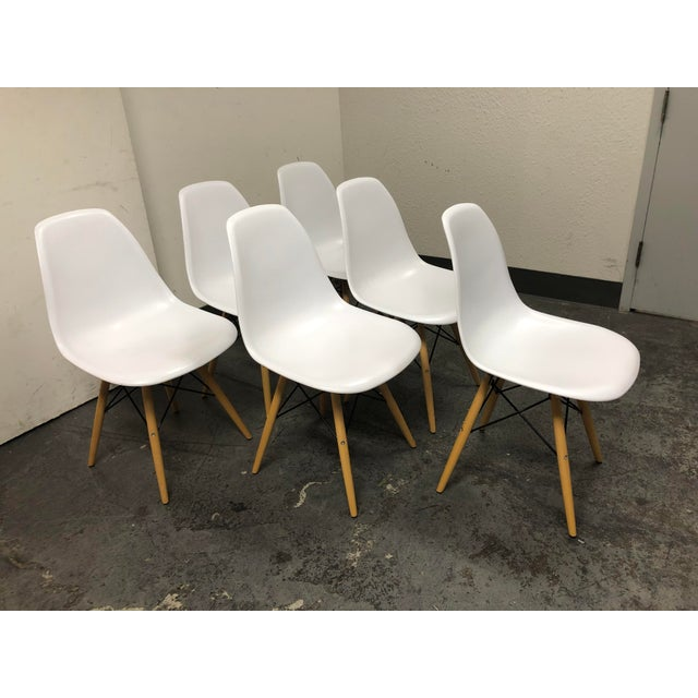 Eames Style White Molded Eiffel Chairs - Set of Six For Sale - Image 4 of 10