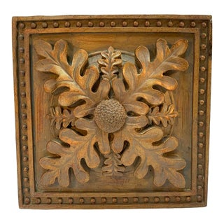 "7"" Square Cast Wall Medallion in Oak Leaf Design For Sale"