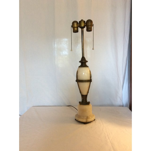Traditional Antique Alabaster and Bronze Lamp For Sale - Image 3 of 8
