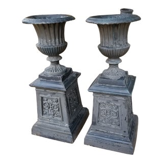 Victorian Style Garden Urns - a Pair For Sale