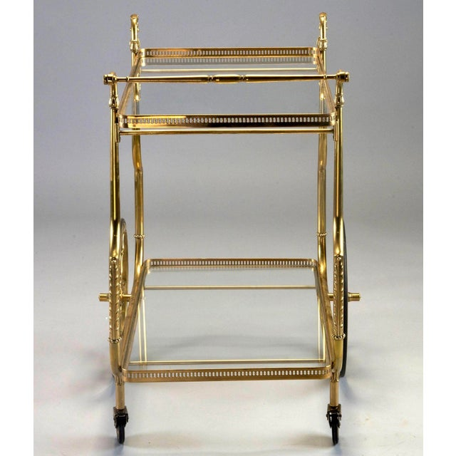 French Brass and Glass Bar or Tea Trolley For Sale - Image 10 of 11