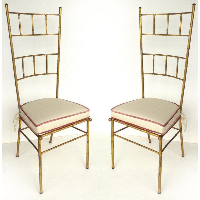 1970s Vintage Bagues Style Italian Gilt Iron High-Back Chairs- A Pair For Sale - Image 12 of 12