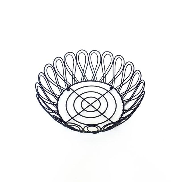 Mid-Century Black Metal Wire Fruit Basket - Image 2 of 3