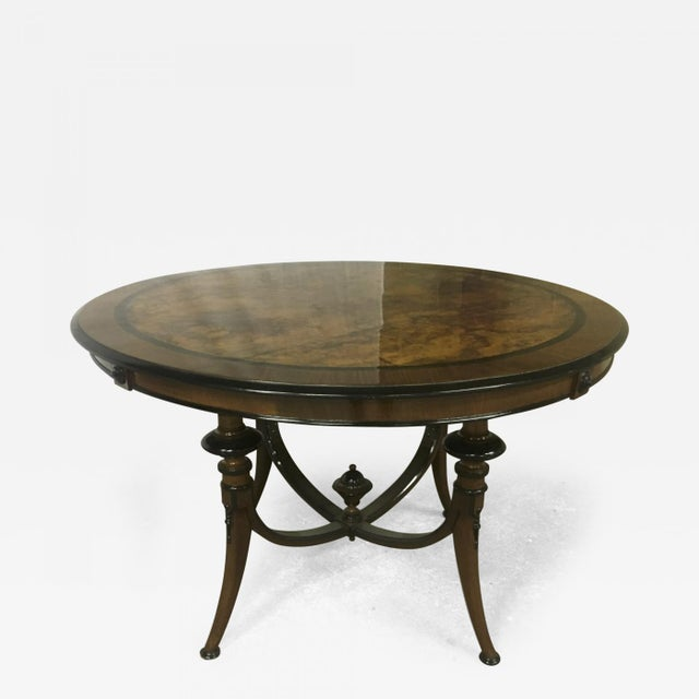 1900s Swedish Refined Burl Dining Table For Sale - Image 5 of 5