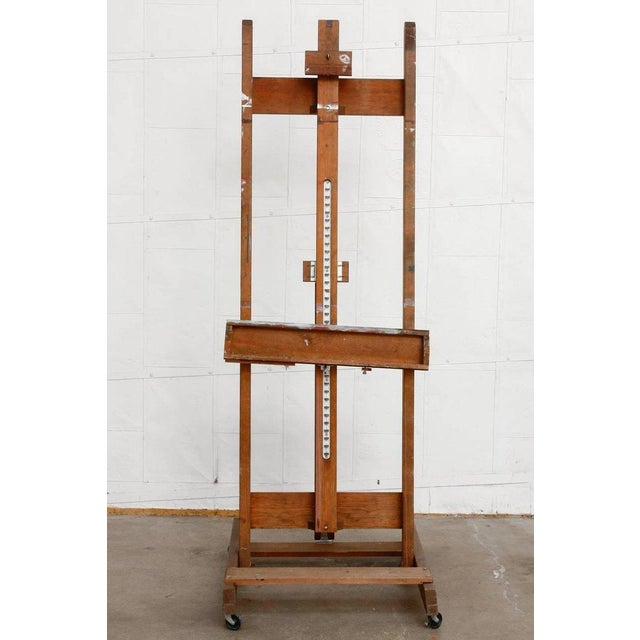 "Vintage Mid-Century Modern wooden painters art studio easel with adjusting angle and frame size. Produced by ""Anco Bilt""..."
