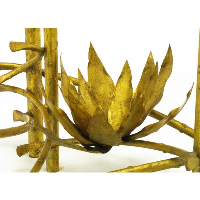 Glass Brutalist Gilt Iron Lotus Coffee Table For Sale - Image 7 of 8