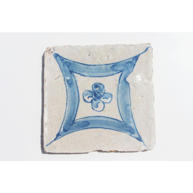 18th Century Baroque Flower Portuguese Earthenware Tile For Sale - Image 9 of 9