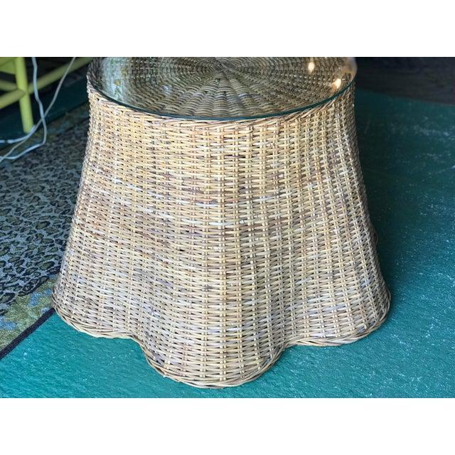 Brown Trompe L'Oeil Rattan Wicker Draped Table Pedestal For Sale - Image 8 of 10