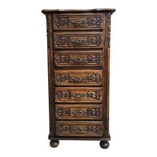 Tall Antique French Carved Oak Chest of Drawers Semainier Commode Lingerie For Sale