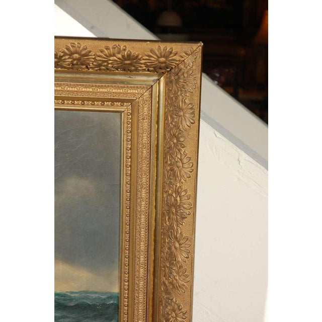 American Classical 19th Century Signed American Oil Painting of a Ship at Sea For Sale - Image 3 of 10