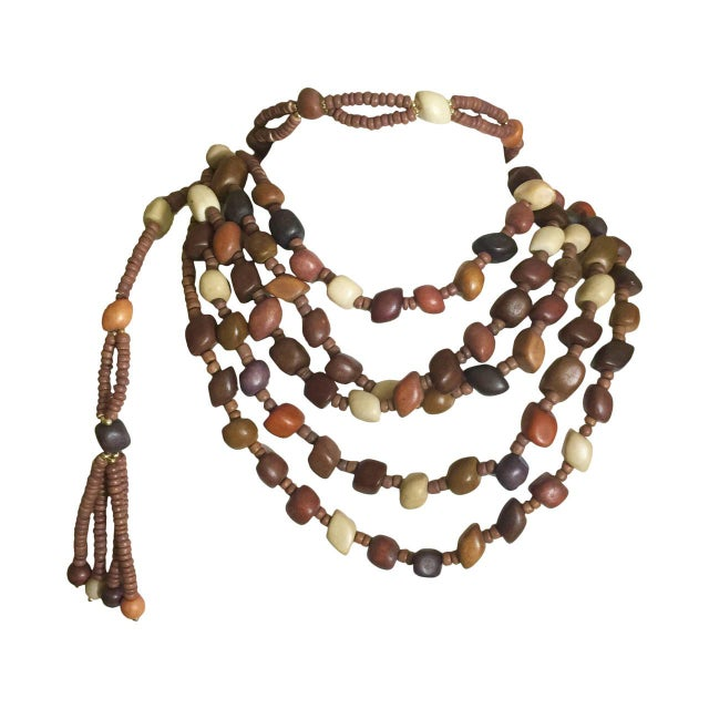 Vintage Wood Bead and Tassel Belt & Necklace For Sale In Miami - Image 6 of 6
